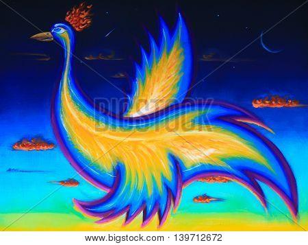 Original art, acrylic painting of phoenix bird, flying in the night sky