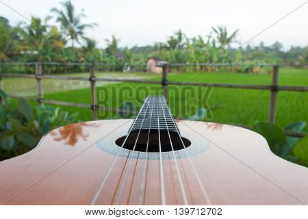 Acoustic guitar on a outdoor blurred background