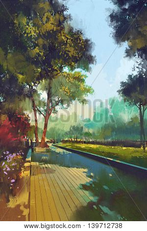 painting of beautiful garden, park in the city, illustration