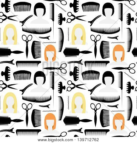 Seamless pattern. Icons for the beauty salon. Other items for the cabin. For haircuts and styling. Vector illustration.