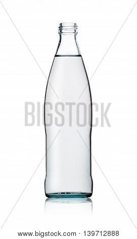 Glass opened bottle of water isolated on white background