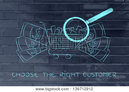 Magnifying Glass On Shopping Cart & Big Cash, Market Research
