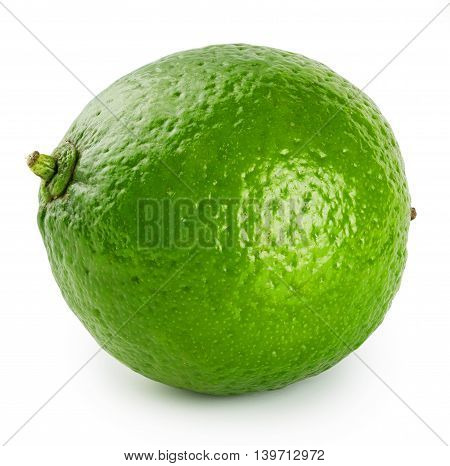 Green ripe juicy lime isolated on white background