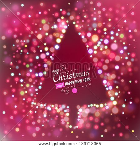 Red Christmas background with bokeh lights and designed text. Christmas tree silhouette. Vector illustration.
