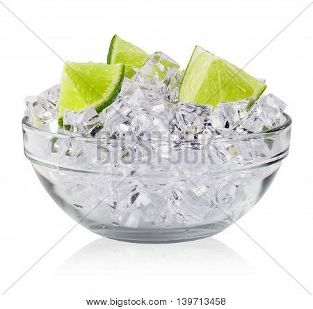 Slices lime in saucer of ice isolated on white background