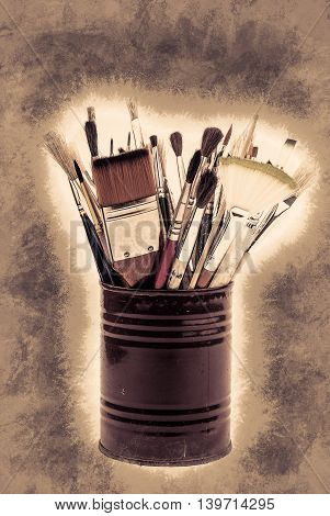Brushes on the tin can. Vintage painting, background illustration, beautiful picture, texture