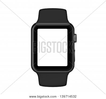 Isolated Space Gray Aluminum Case Black Band Smart Watch