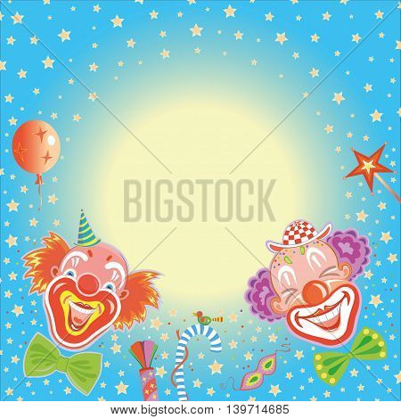 Holiday greeting card happy birthday with clowns with blank space for text.