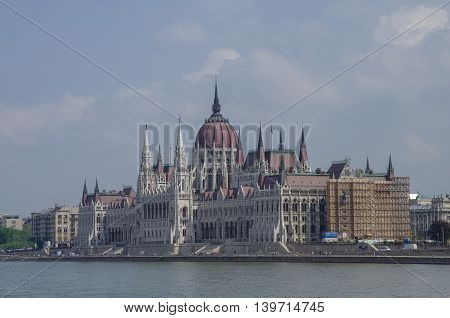 View of Danube River and Hungarian Parliament Building Budapest Hungary