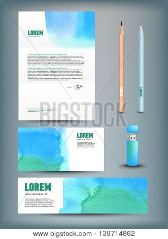 Corporate identity templates disk, pen, pencil, cup, usb flash driver. Isolated with soft shadows Vector illustration