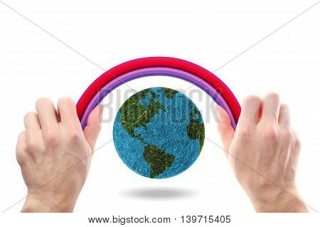 Abstract Globe On A White Background Under A Rainbow