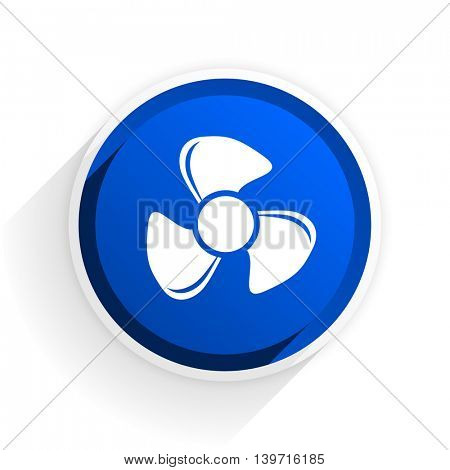 fan flat icon with shadow on white background, blue modern design web element