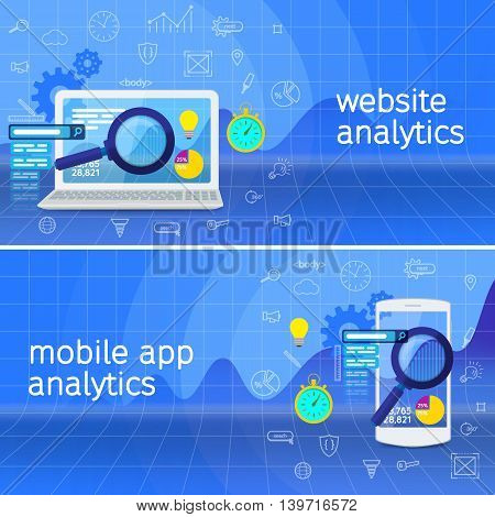 SEO data analysis concept. Website analytics search information and computing data analysis using modern electronic and mobile devices. Database research web banner. White laptop and phone.