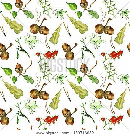 Watercolor autumn vintage bouquet of twigs oak leaves and acorns. Botanical watercolor seamless pattern. You can use it in textile design greeting cards graphic design.