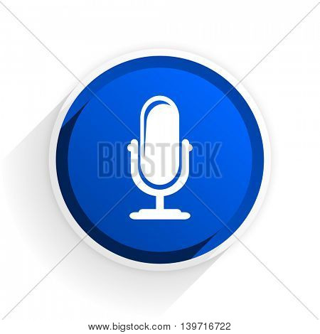 microphone flat icon with shadow on white background, blue modern design web element