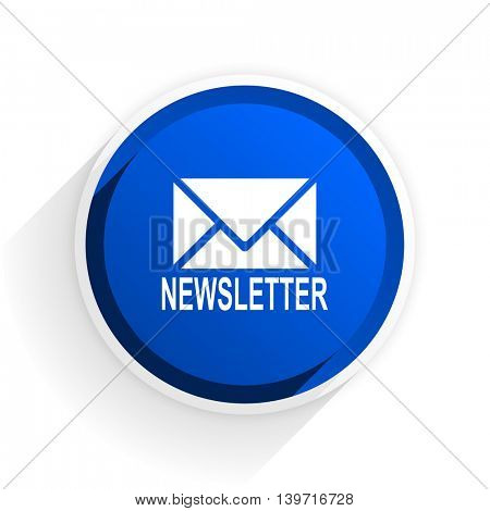 newsletter flat icon with shadow on white background, blue modern design web element