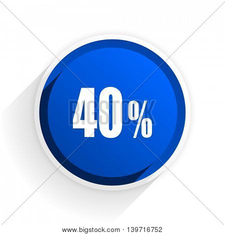 40 percent flat icon with shadow on white background, blue modern design web element