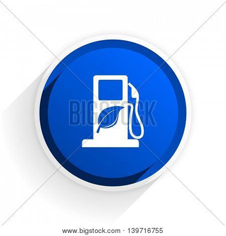 biofuel flat icon with shadow on white background, blue modern design web element