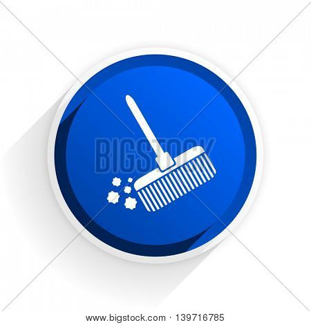 broom flat icon with shadow on white background, blue modern design web element