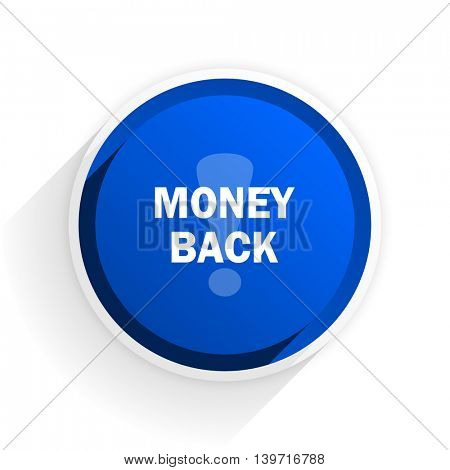 money back flat icon with shadow on white background, blue modern design web element