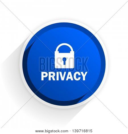 privacy flat icon with shadow on white background, blue modern design web element