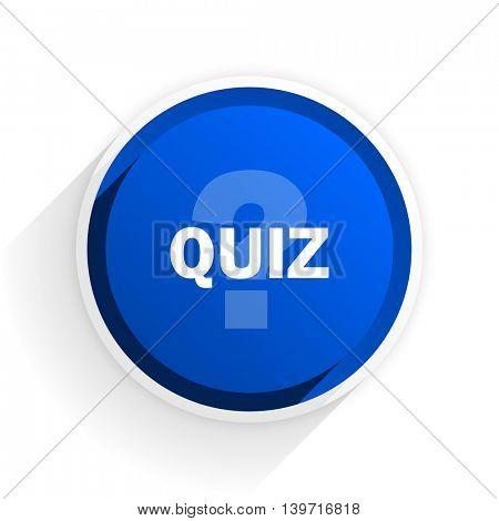 quiz flat icon with shadow on white background, blue modern design web element