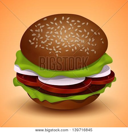 Burger with cutlet tomatoes, onions and salad