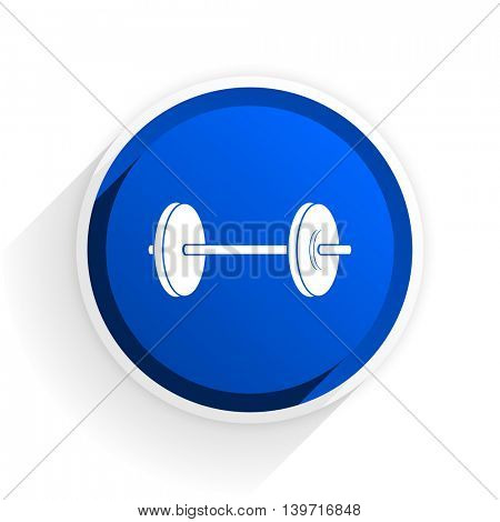 fitness flat icon with shadow on white background, blue modern design web element