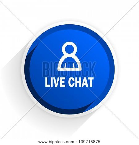 live chat flat icon with shadow on white background, blue modern design web element