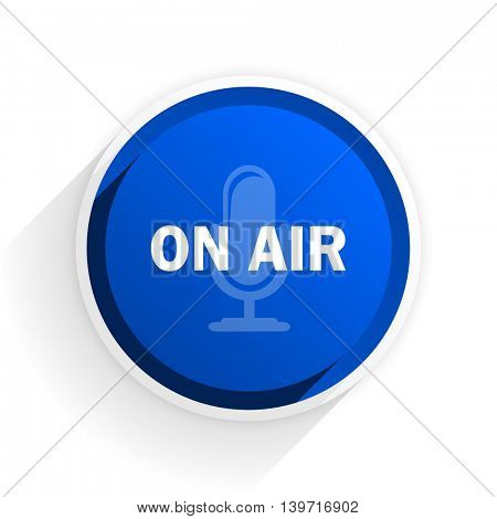 on air flat icon with shadow on white background, blue modern design web element