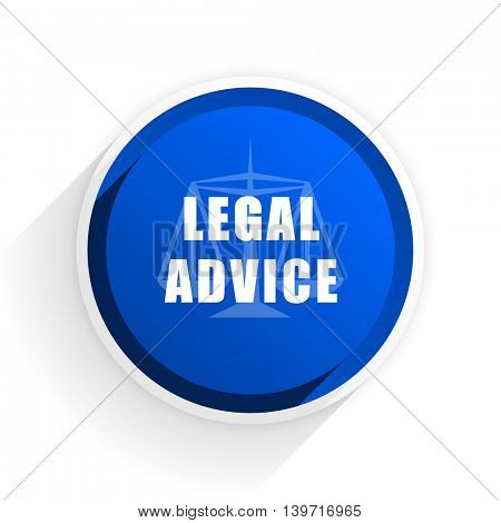 legal advice flat icon with shadow on white background, blue modern design web element