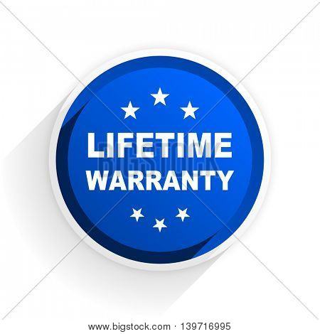 lifetime warranty flat icon with shadow on white background, blue modern design web element