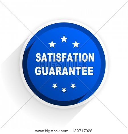 satisfaction guarantee flat icon with shadow on white background, blue modern design web element