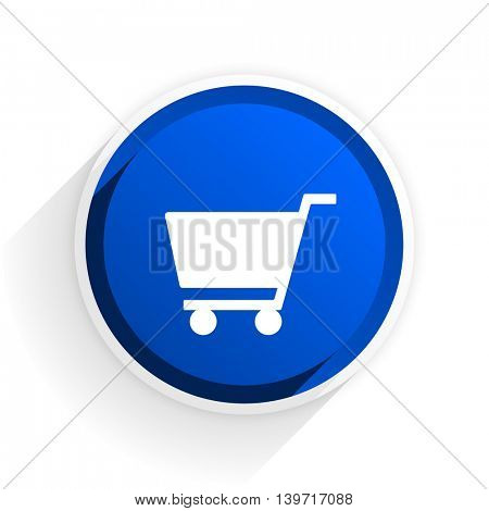 cart flat icon with shadow on white background, blue modern design web element