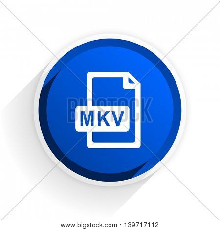 mkv file flat icon with shadow on white background, blue modern design web element