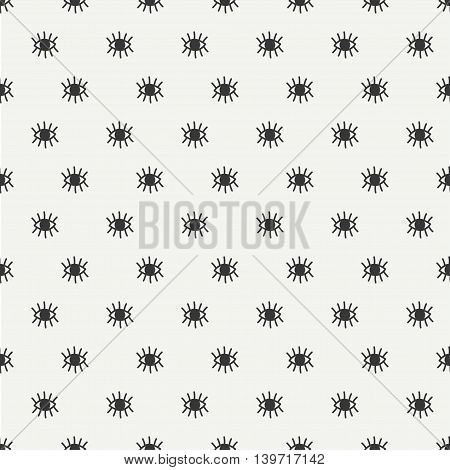 Hand drawn seamless pattern with open and close eyes. Wrapping paper. Vector background. Casual texture. Illustration. Bohemian style. Tribal print. Ethnic doodle art elements. Eye pattern.