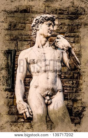 David by Michelangelo in front of Palazzo Vecchio, Florence Italy. Vintage painting, background illustration, beautiful picture, travel texture