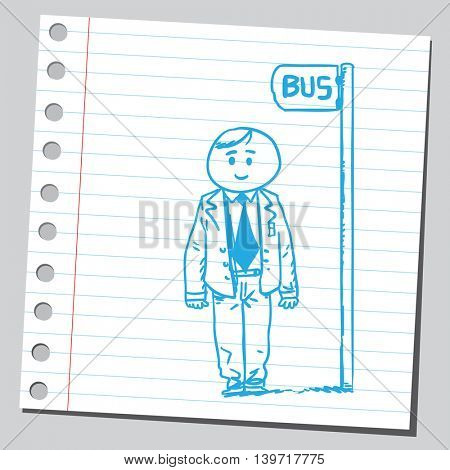 Businessman waiting for a  bus