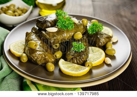 Dolma - Stuffed Grape Leaves With Rice And Vegetable