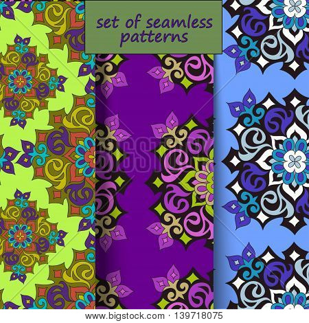 A set of seamless patterns with the Arab Islamic motifs, vector illustration