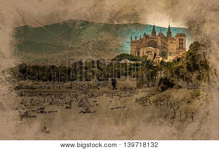 View of the beach of Palma de Mallorca with gorgeous cathedral building. Palma-de-Mallorca, Balearic islands, Spain. Modern painting, background illustration.