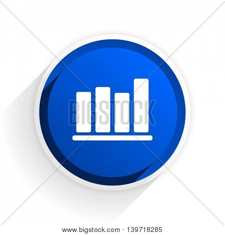 bar chart flat icon with shadow on white background, blue modern design web element