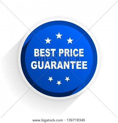 best price guarantee flat icon with shadow on white background, blue modern design web element