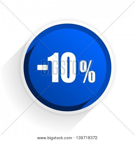 10 percent sale retail flat icon with shadow on white background, blue modern design web element