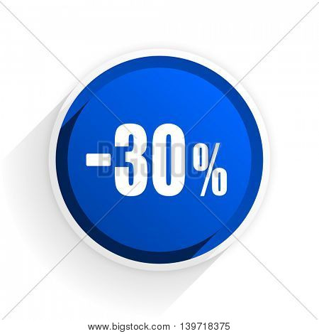 30 percent sale retail flat icon with shadow on white background, blue modern design web element
