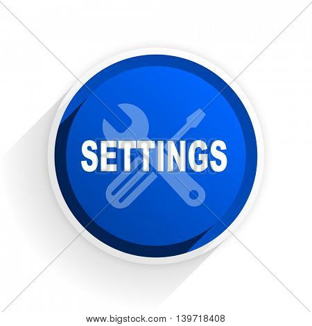 settings flat icon with shadow on white background, blue modern design web element