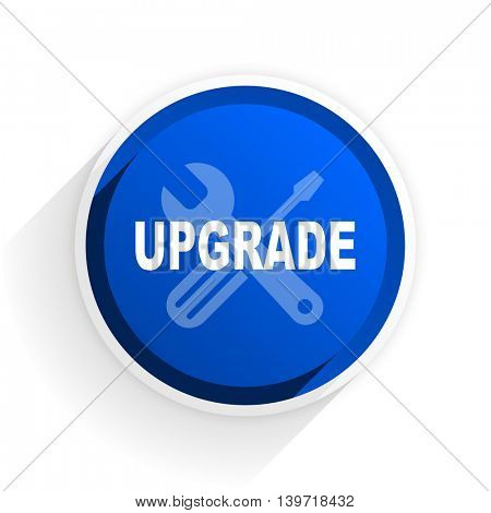 upgrade flat icon with shadow on white background, blue modern design web element
