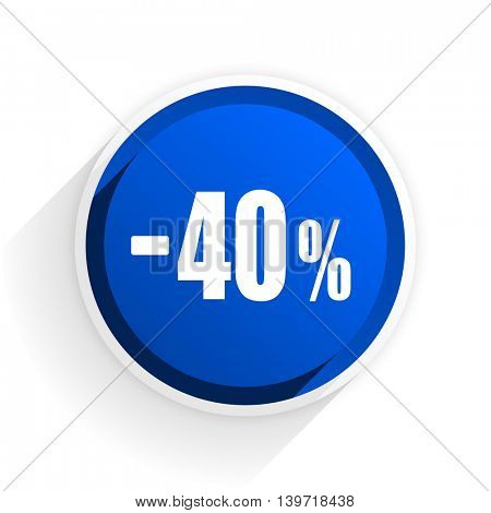 40 percent sale retail flat icon with shadow on white background, blue modern design web element