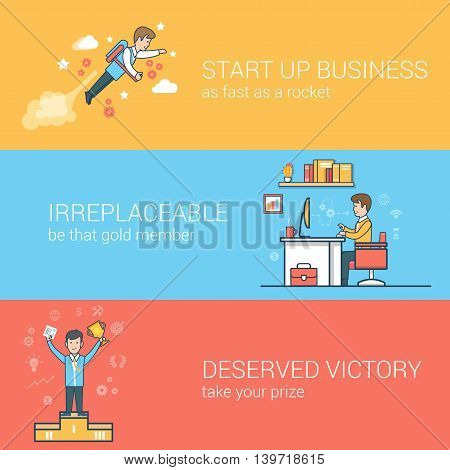 Man clouds Work place trophy Linear Flat business success vector