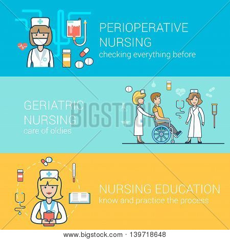 Linear Flat Nurse patient education perioperative health vector